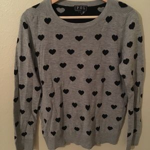Heart Pullover Sweater - Gray with Black Hearts